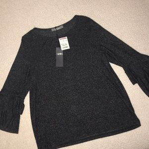 Women's Charcoal bell 3/4 sleeve top.